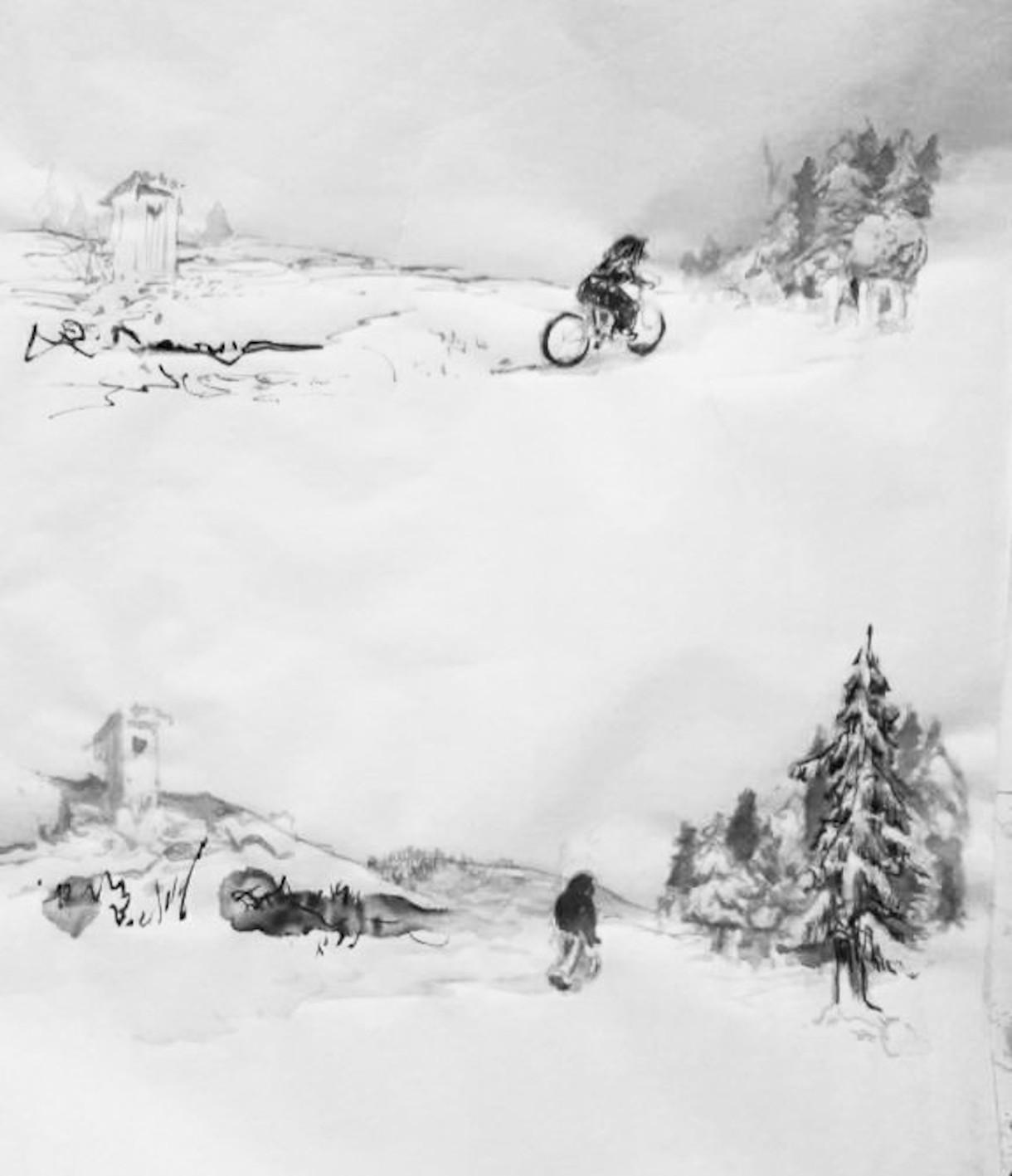 Bär auf dem Fahrrad